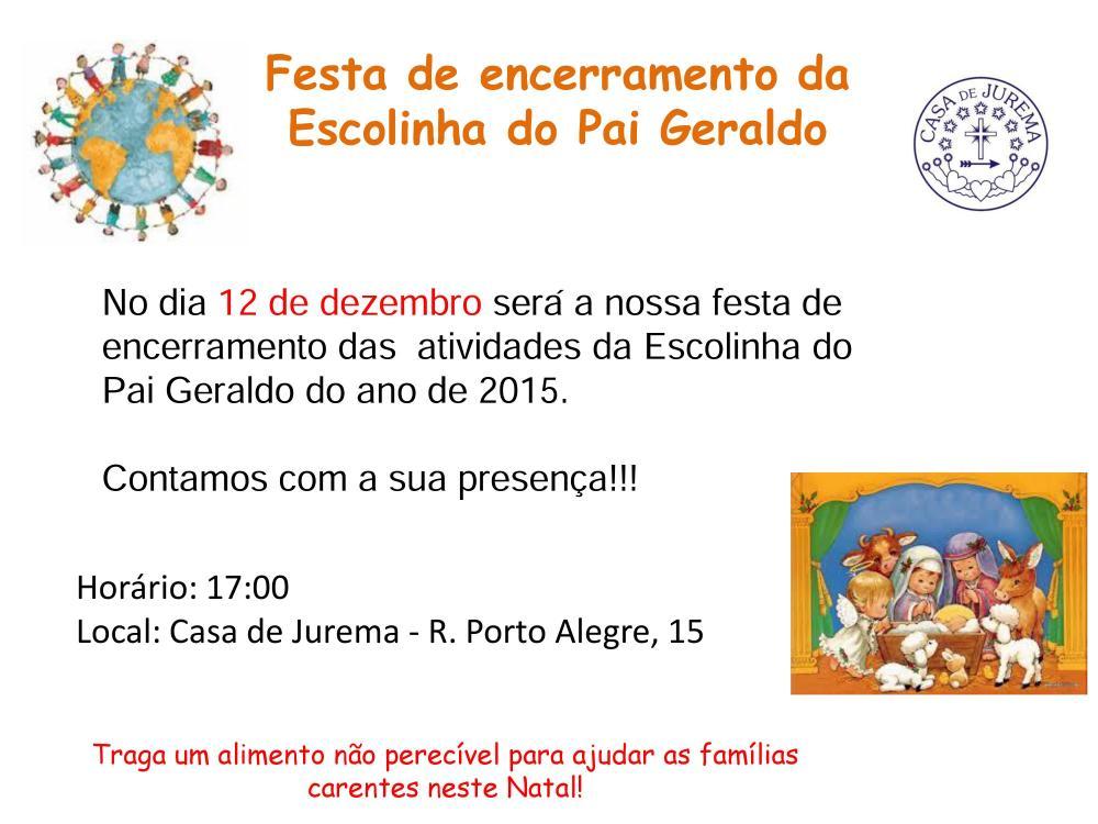 Convite Festa de Encerramento da Escolinha do Pasi Geraldo